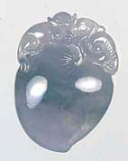 Natural A grade jadeite jade flower or fruit pendant, an example of jade jewelry carving and jade pendants found on my site.