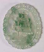 Natural A grade jadeite jade ship pendant, an example of jade jewelry carving and jade pendants found on my site.